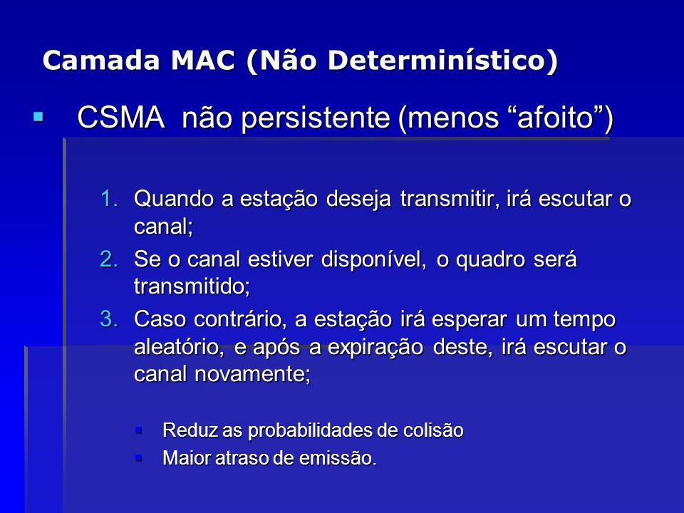 Camada MAC (Não Determinístico) CSMA não persistente (menos afoito) CSMA não persistente (menos afoito) 1.Quando a estação deseja transmitir, irá escu