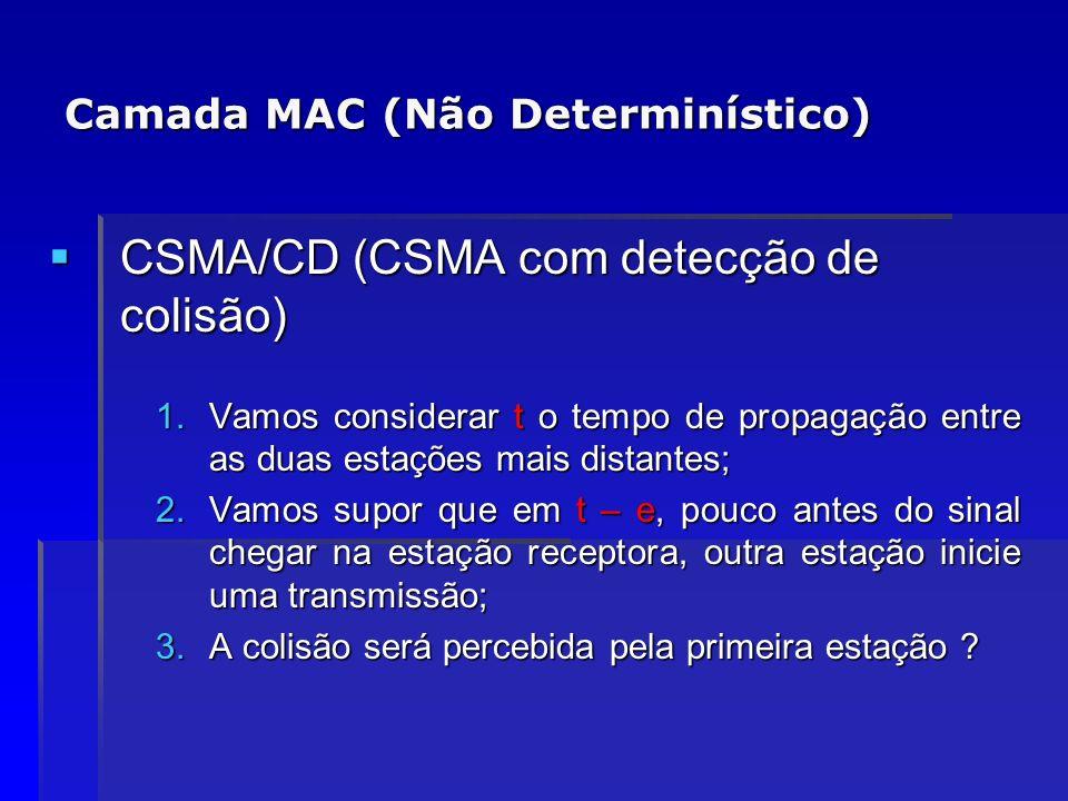 Camada MAC (Não Determinístico) CSMA/CD (CSMA com detecção de colisão) CSMA/CD (CSMA com detecção de colisão) 1.Vamos considerar t o tempo de propagaç
