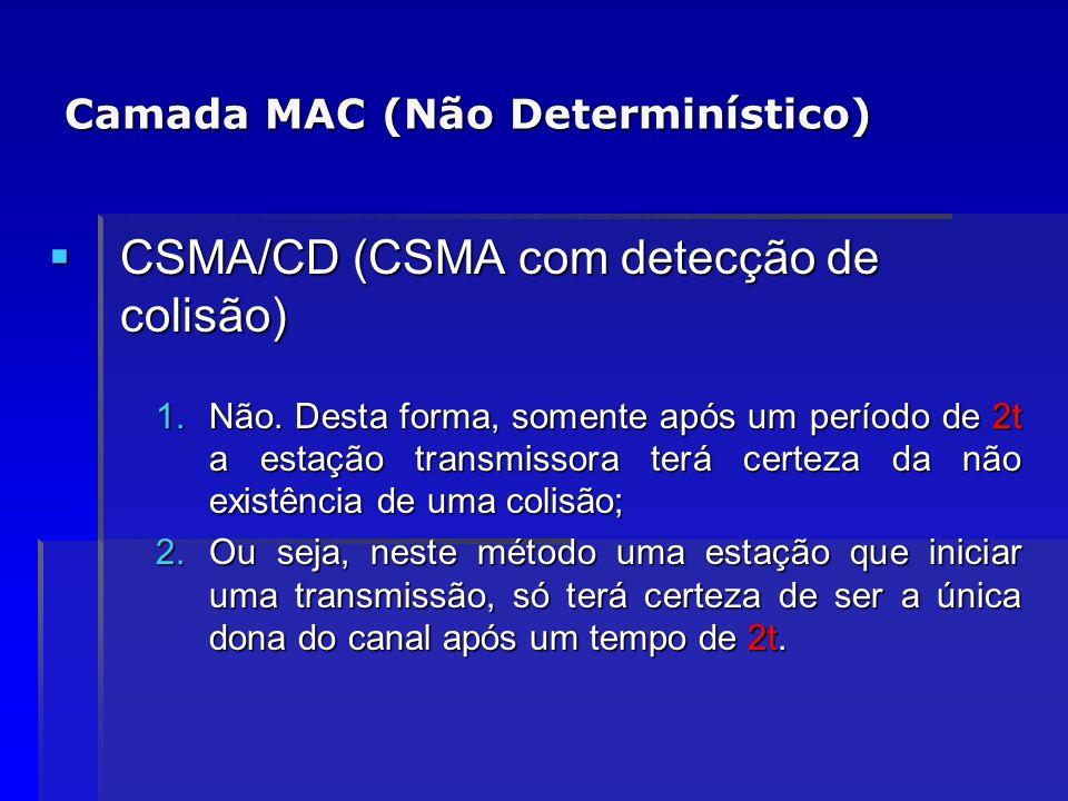 Camada MAC (Não Determinístico) CSMA/CD (CSMA com detecção de colisão) CSMA/CD (CSMA com detecção de colisão) 1.Não. Desta forma, somente após um perí