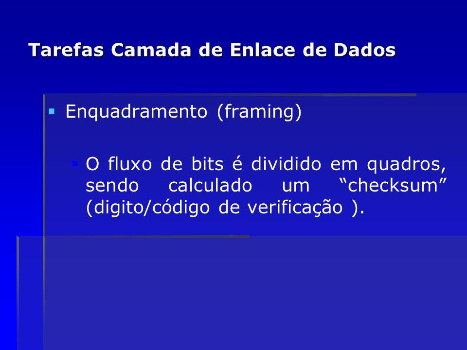 Tarefas Camada de Enlace de Dados Enquadramento (framing) O fluxo de bits é dividido em quadros, sendo calculado um checksum (digito/código de verific