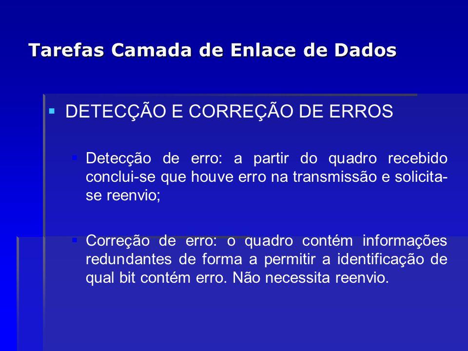 Tarefas Camada de Enlace de Dados DETECÇÃO E CORREÇÃO DE ERROS Detecção de erro: a partir do quadro recebido conclui-se que houve erro na transmissão