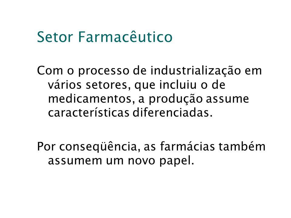 Setor Farmacêutico Com o processo de industrialização em vários setores, que incluiu o de medicamentos, a produção assume características diferenciada