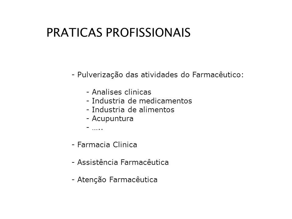 PRATICAS PROFISSIONAIS - Pulverização das atividades do Farmacêutico: - Analises clinicas - Industria de medicamentos - Industria de alimentos - Acupu