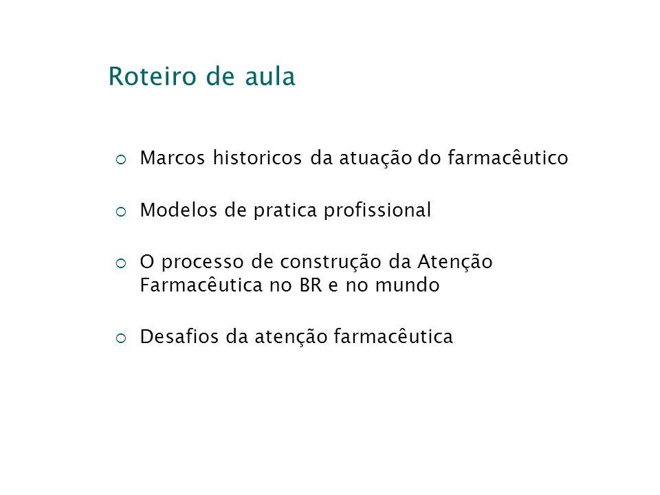 Roteiro de aula Marcos historicos da atuação do farmacêutico Modelos de pratica profissional O processo de construção da Atenção Farmacêutica no BR e