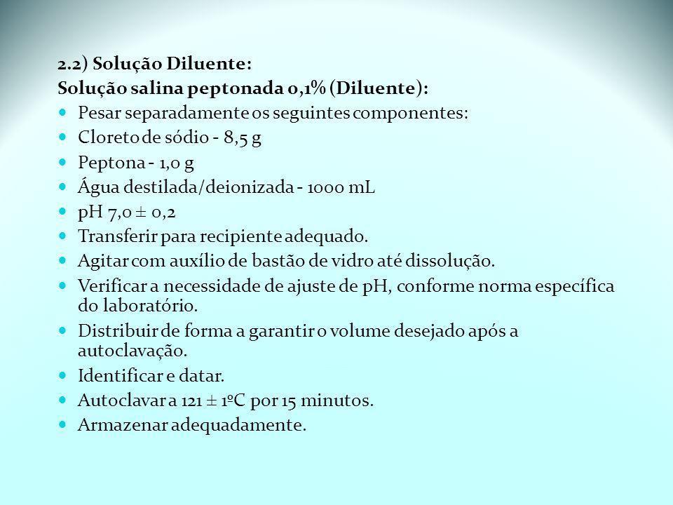 2.2) Solução Diluente: Solução salina peptonada 0,1% (Diluente): Pesar separadamente os seguintes componentes: Cloreto de sódio - 8,5 g Peptona - 1,0