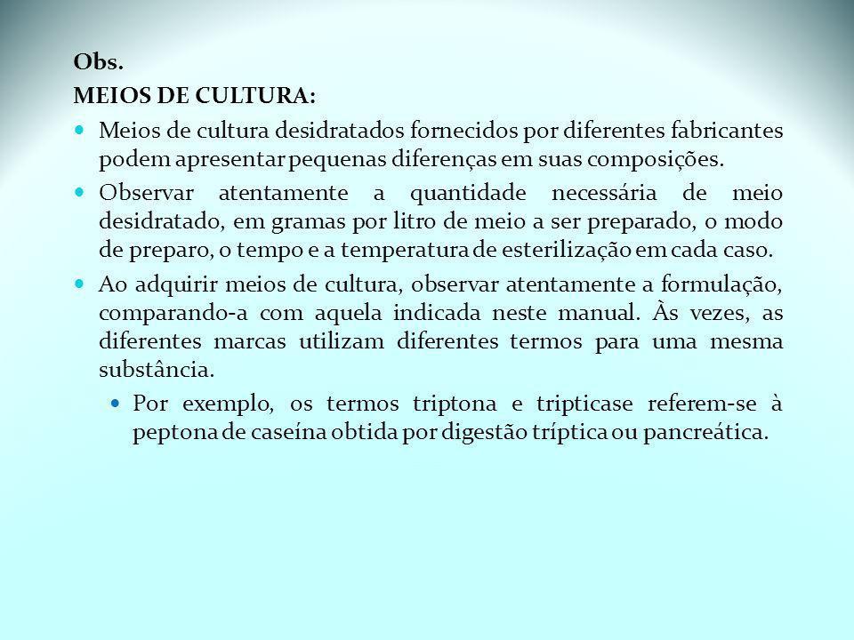 Grupo de risco de componentes de meio de cultura (Instrução Normativa 62 de 2003): N = nocivo; I = irritante; T = tóxico; H = hidropoluente; P = perigoso para o meio ambiente; C = corrosivo; O = oxidante; F = inflamável; E = explosivo; M = mutagênico; Co = comburente.