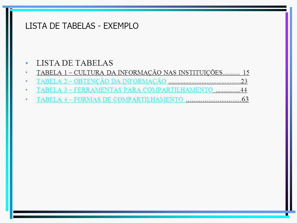 LISTA DE TABELAS - EXEMPLO LISTA DE TABELAS TABELA 1 – CULTURA DA INFORMAÇÃO NAS INSTITUIÇÕES........... 15 TABELA 2 – OBTENÇÃO DA INFORMAÇÃO.........
