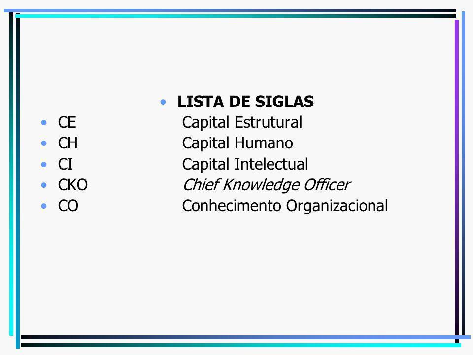 LISTA DE SIGLAS CE Capital Estrutural CH Capital Humano CI Capital Intelectual CKO Chief Knowledge Officer CO Conhecimento Organizacional