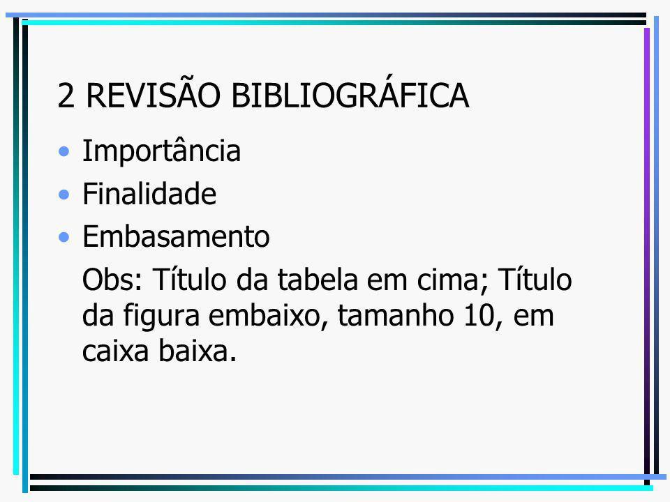 2 REVISÃO BIBLIOGRÁFICA Importância Finalidade Embasamento Obs: Título da tabela em cima; Título da figura embaixo, tamanho 10, em caixa baixa.