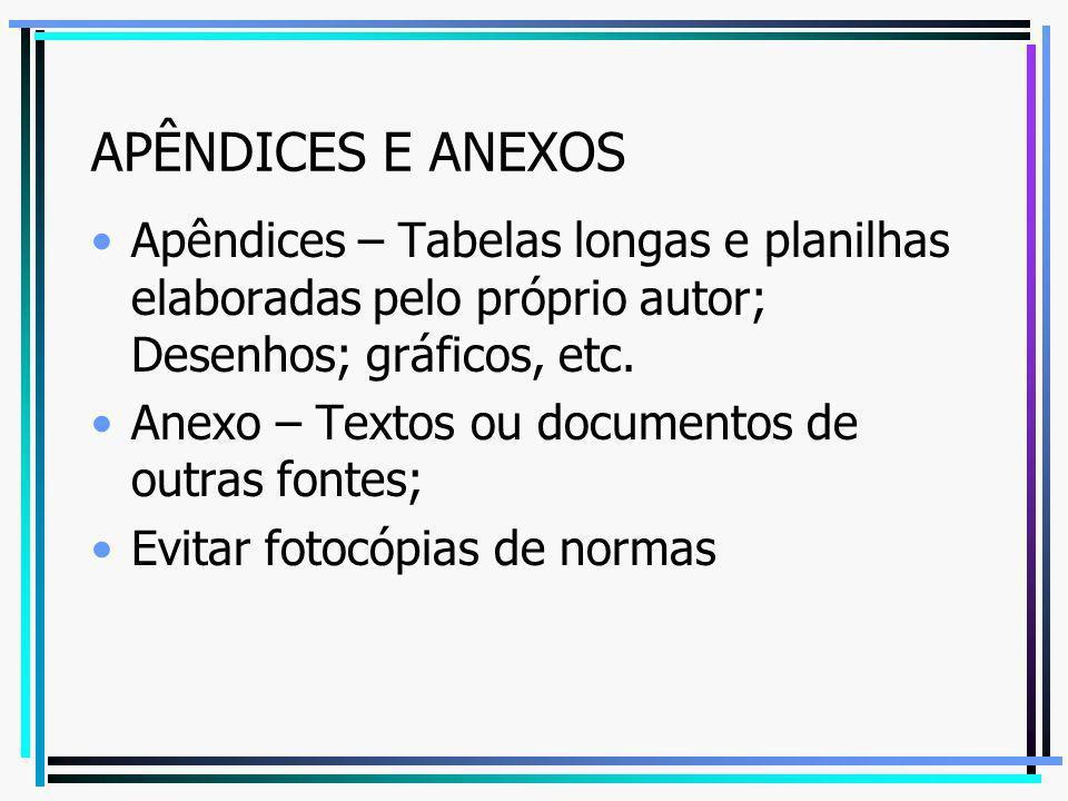 APÊNDICES E ANEXOS Apêndices – Tabelas longas e planilhas elaboradas pelo próprio autor; Desenhos; gráficos, etc. Anexo – Textos ou documentos de outr