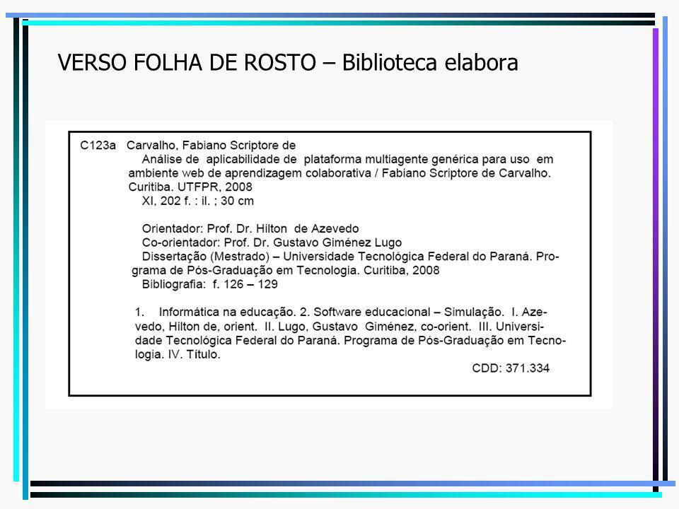 VERSO FOLHA DE ROSTO – Biblioteca elabora