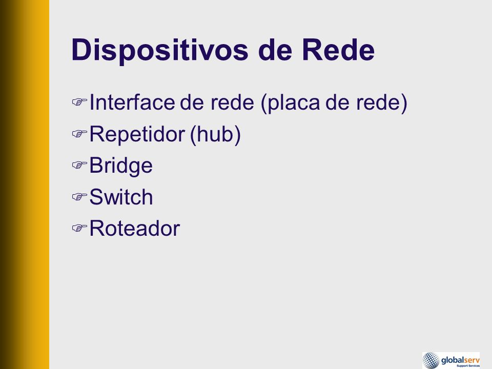 Interface de rede (placa de rede) Repetidor (hub) Bridge Switch Roteador