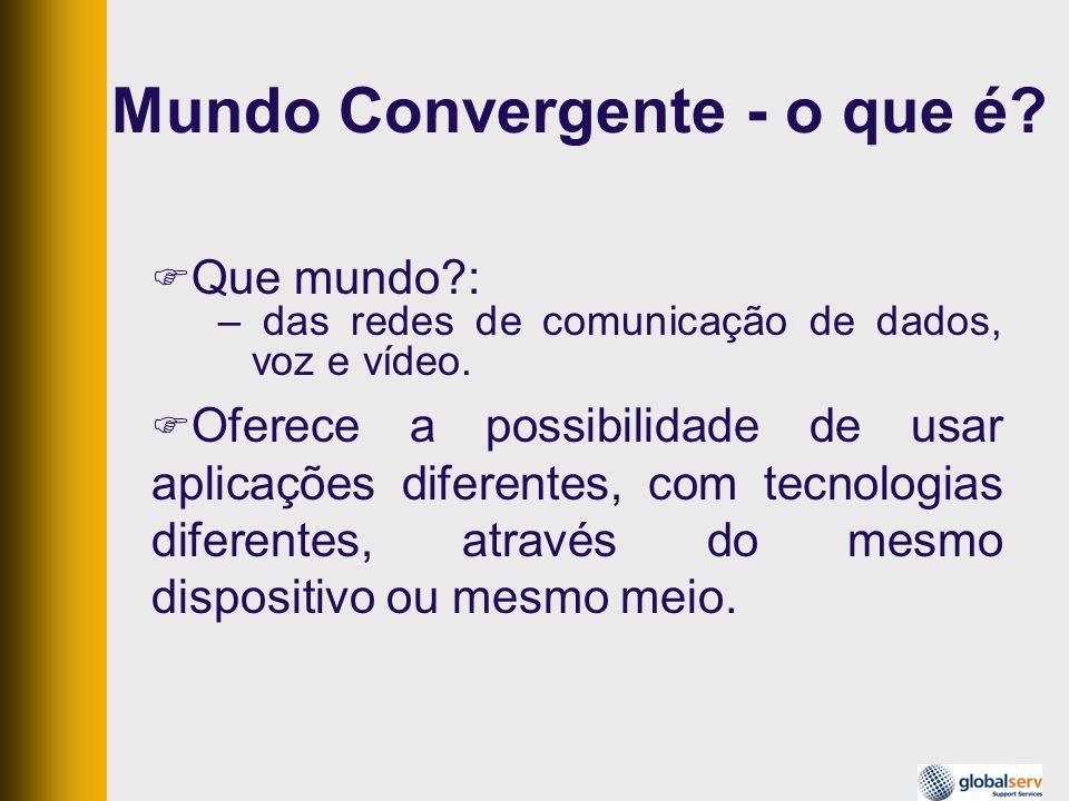 Mundo Convergente Exemplos: –aparelho de som 3 em 1, –Câmera fotográfica, que filma e reproduz MP3, Tema abordado aqui: –rede de comunicação para transporte de dados, voz e vídeo no mesmo meio e simultaneamente.