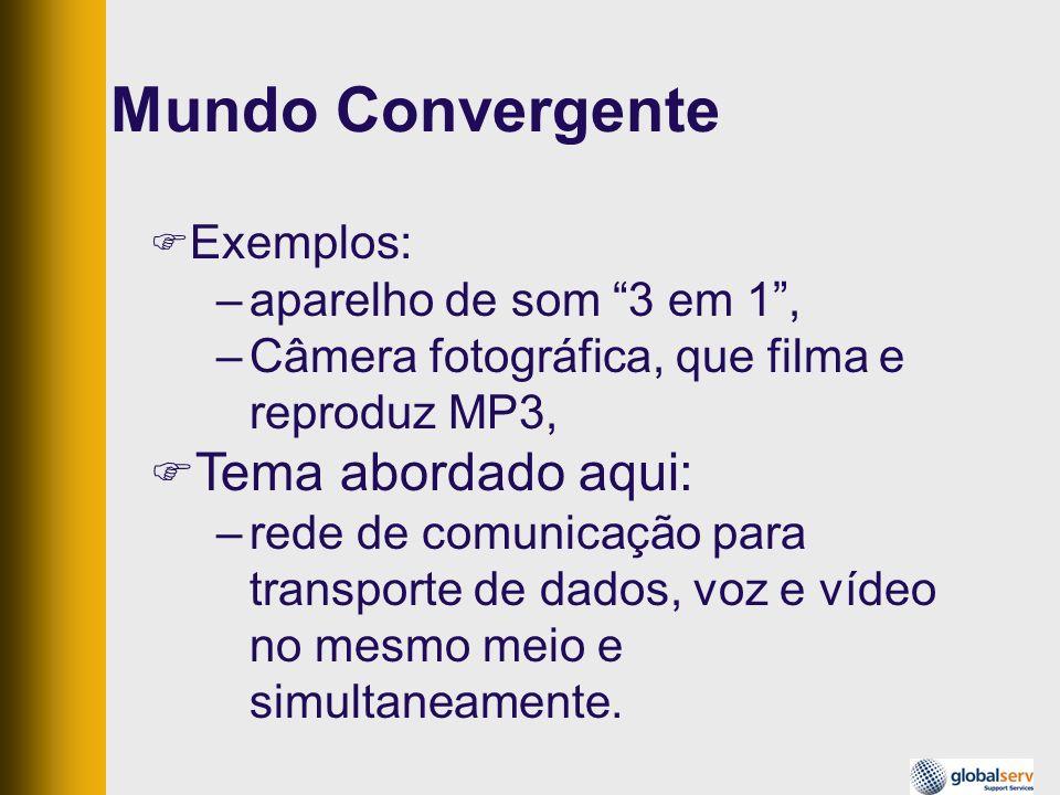 Mundo Convergente Exemplos: –aparelho de som 3 em 1, –Câmera fotográfica, que filma e reproduz MP3, Tema abordado aqui: –rede de comunicação para tran