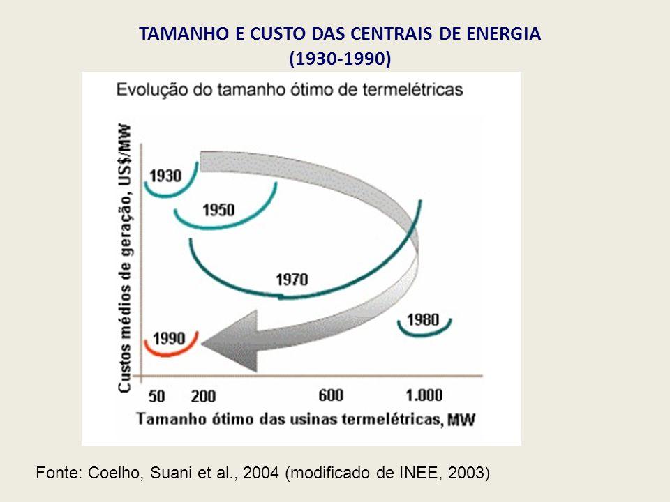 TAMANHO E CUSTO DAS CENTRAIS DE ENERGIA (1930-1990) Fonte: Coelho, Suani et al., 2004 (modificado de INEE, 2003)