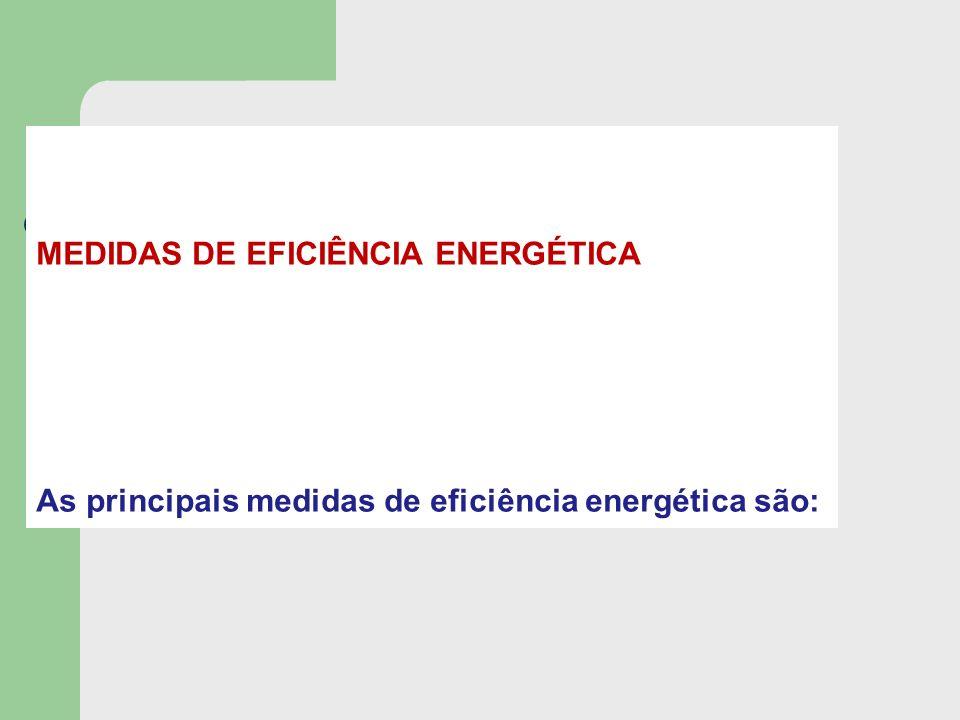 MEDIDAS DE EFICIÊNCIA ENERGÉTICA As principais medidas de eficiência energética são: