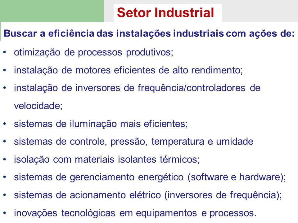 otimização de processos produtivos; instalação de motores eficientes de alto rendimento; instalação de inversores de frequência/controladores de veloc