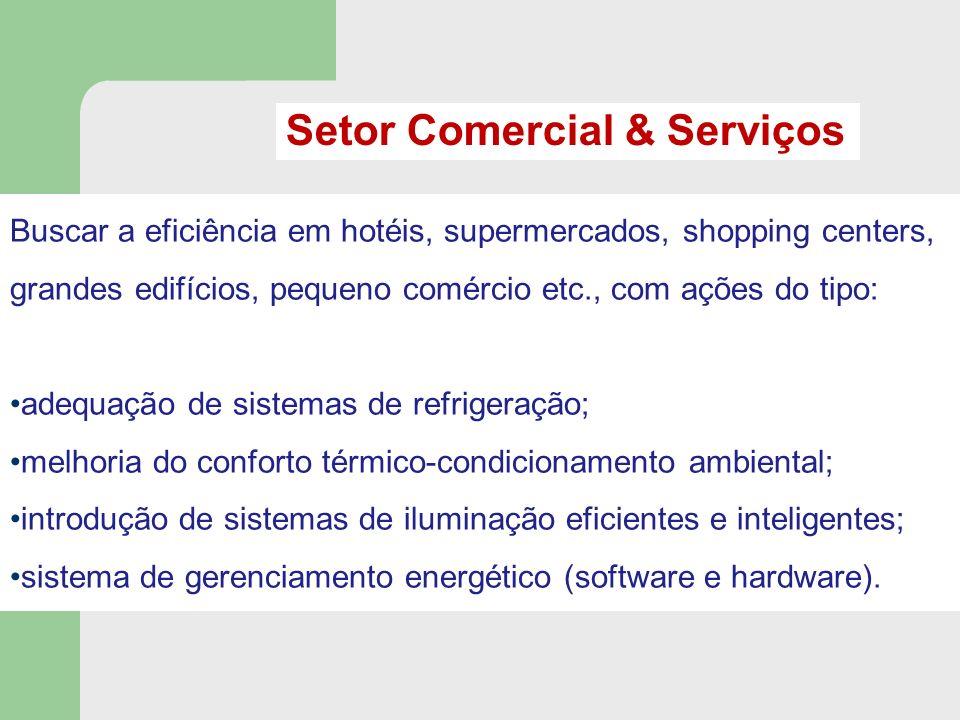 Buscar a eficiência em hotéis, supermercados, shopping centers, grandes edifícios, pequeno comércio etc., com ações do tipo: adequação de sistemas de