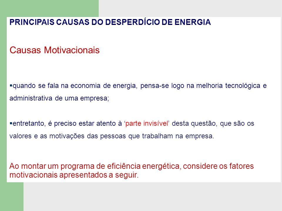 FATORES MOTIVACIONAIS falta de: informação a respeito de técnicas de uso eficiênte de energia; consciência coletiva a respeito de eliminação de desperdício; ambiente favorável à inovação.