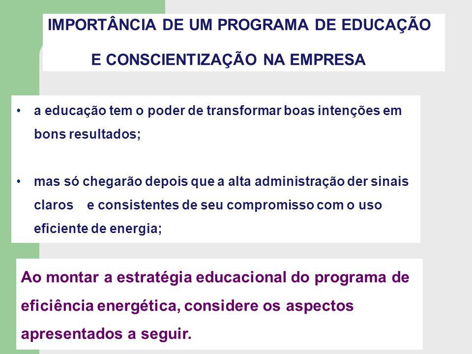 IMPORTÂNCIA DE UM PROGRAMA DE EDUCAÇÃO E CONSCIENTIZAÇÃO NA EMPRESA a educação tem o poder de transformar boas intenções em bons resultados; mas só ch