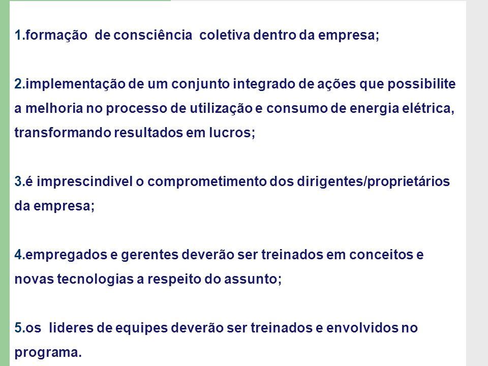 1.formação de consciência coletiva dentro da empresa; 2.implementação de um conjunto integrado de ações que possibilite a melhoria no processo de util