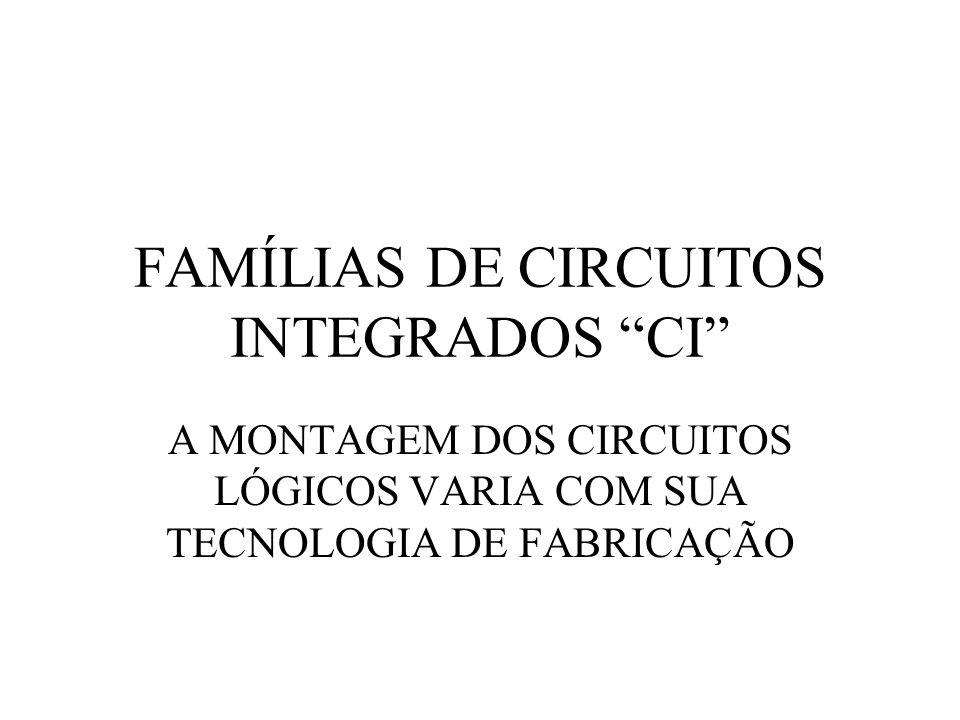 FAMÍLIAS DE CIRCUITOS INTEGRADOS CI A MONTAGEM DOS CIRCUITOS LÓGICOS VARIA COM SUA TECNOLOGIA DE FABRICAÇÃO