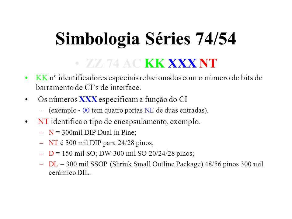 Simbologia Séries 74/54 ZZ 74 AC KK XXX NT KK nº identificadores especiais relacionados com o número de bits de barramento de CIs de interface. Os núm