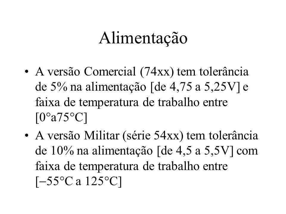 Alimentação A versão Comercial (74xx) tem tolerância de 5% na alimentação [de 4,75 a 5,25V] e faixa de temperatura de trabalho entre [0 a75 C] A versã
