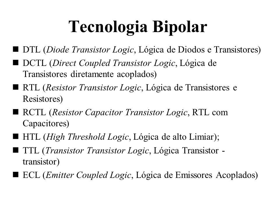 Tecnologia Bipolar DTL (Diode Transistor Logic, Lógica de Diodos e Transistores) DCTL (Direct Coupled Transistor Logic, Lógica de Transistores diretam