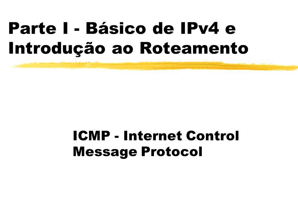 Parte I - Básico de IPv4 e Introdução ao Roteamento ICMP - Internet Control Message Protocol