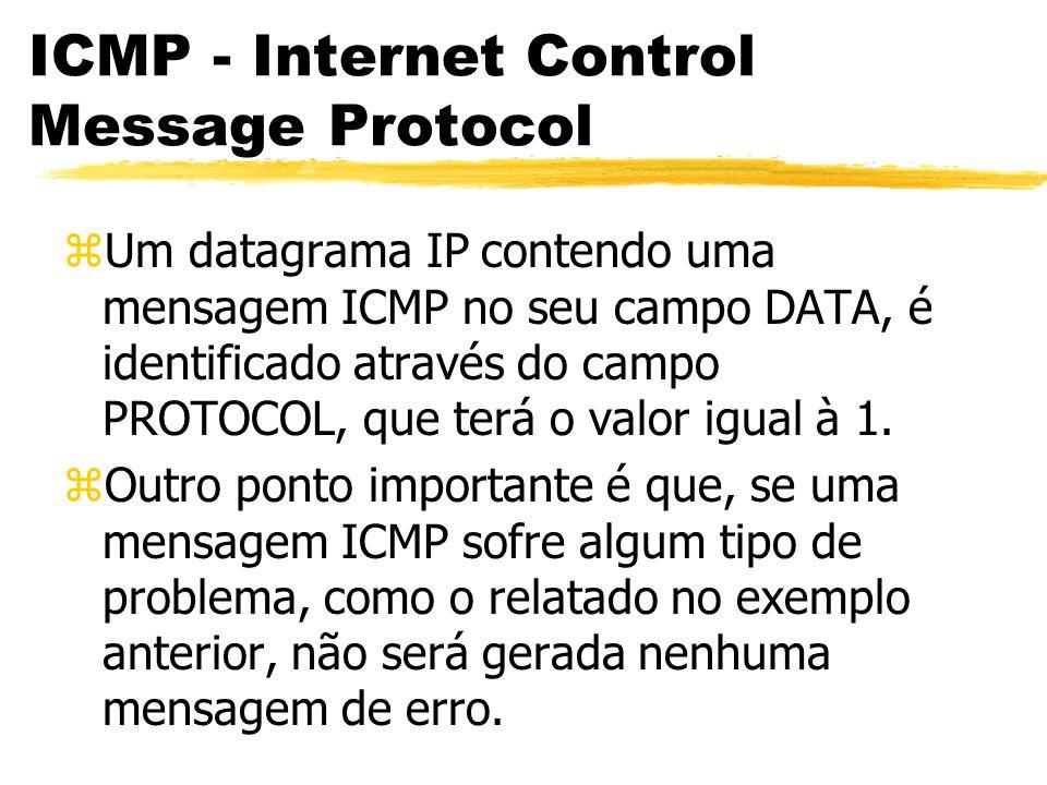 ICMP - Internet Control Message Protocol zUm datagrama IP contendo uma mensagem ICMP no seu campo DATA, é identificado através do campo PROTOCOL, que terá o valor igual à 1.