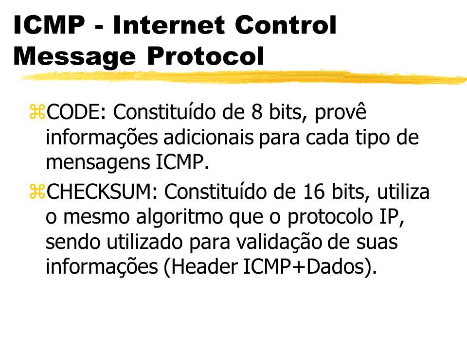 zCODE: Constituído de 8 bits, provê informações adicionais para cada tipo de mensagens ICMP.