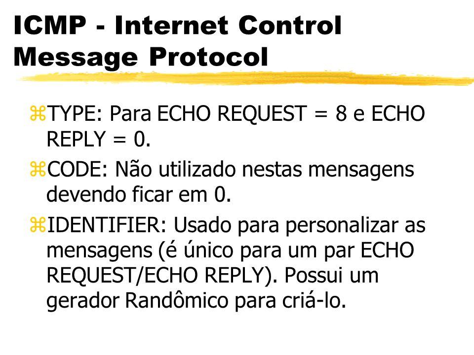 ICMP - Internet Control Message Protocol zTYPE: Para ECHO REQUEST = 8 e ECHO REPLY = 0.