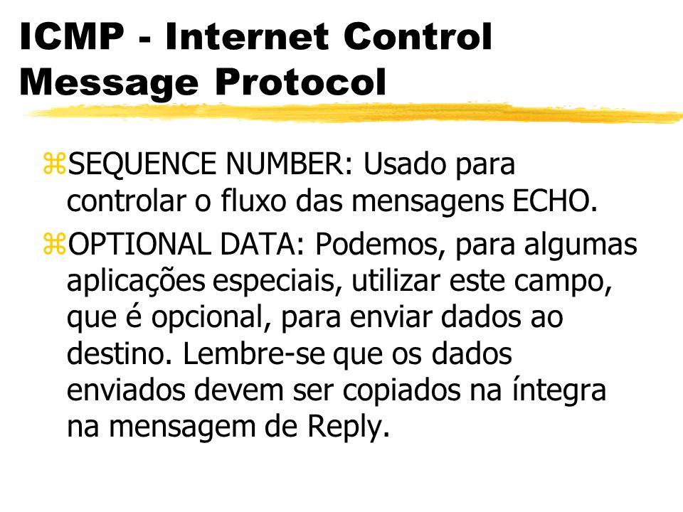 ICMP - Internet Control Message Protocol zSEQUENCE NUMBER: Usado para controlar o fluxo das mensagens ECHO.