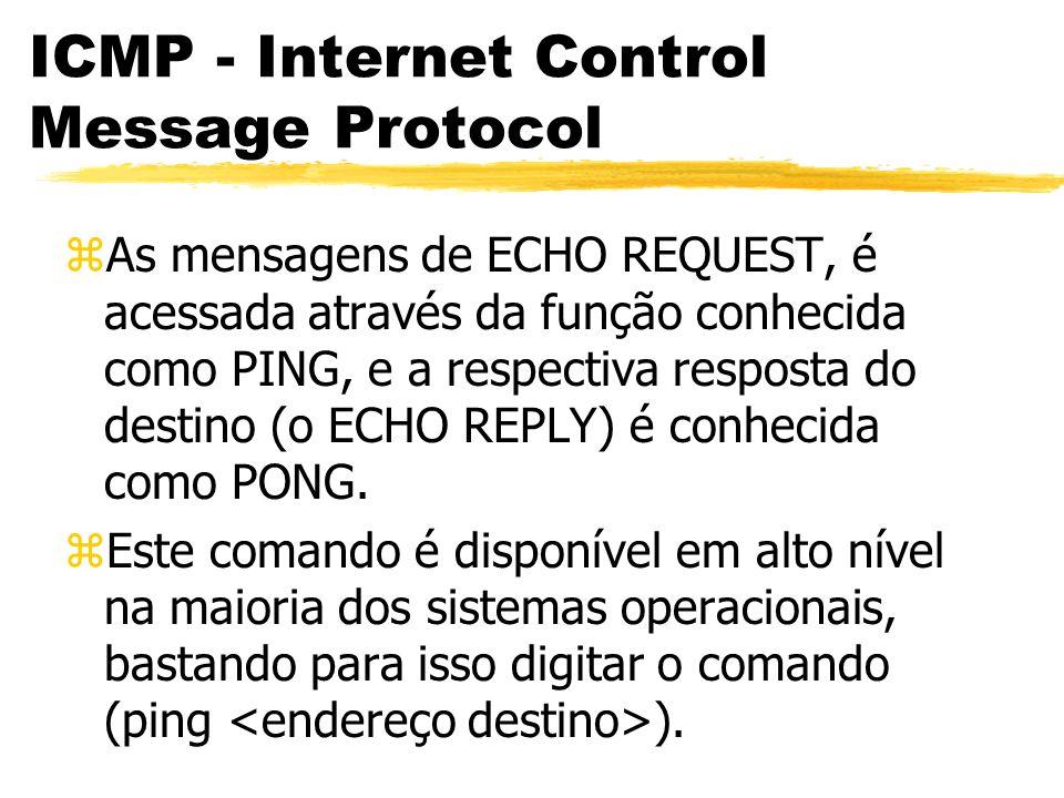 ICMP - Internet Control Message Protocol zAs mensagens de ECHO REQUEST, é acessada através da função conhecida como PING, e a respectiva resposta do destino (o ECHO REPLY) é conhecida como PONG.