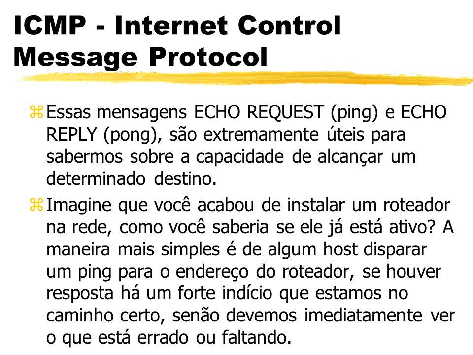 ICMP - Internet Control Message Protocol zEssas mensagens ECHO REQUEST (ping) e ECHO REPLY (pong), são extremamente úteis para sabermos sobre a capacidade de alcançar um determinado destino.