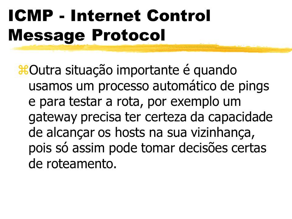 ICMP - Internet Control Message Protocol zOutra situação importante é quando usamos um processo automático de pings e para testar a rota, por exemplo um gateway precisa ter certeza da capacidade de alcançar os hosts na sua vizinhança, pois só assim pode tomar decisões certas de roteamento.