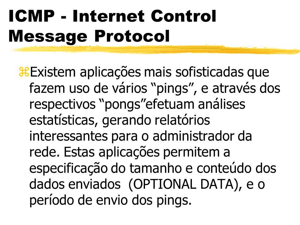 ICMP - Internet Control Message Protocol zExistem aplicações mais sofisticadas que fazem uso de vários pings, e através dos respectivos pongsefetuam análises estatísticas, gerando relatórios interessantes para o administrador da rede.