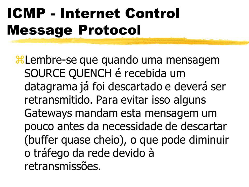ICMP - Internet Control Message Protocol zLembre-se que quando uma mensagem SOURCE QUENCH é recebida um datagrama já foi descartado e deverá ser retransmitido.