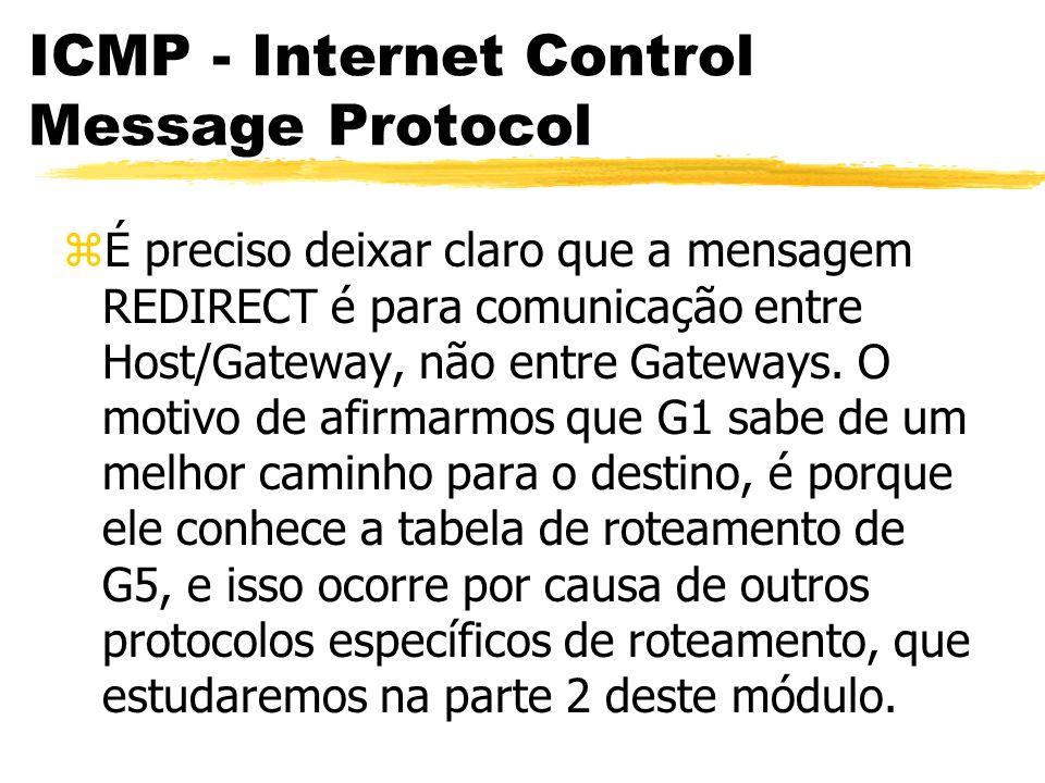 ICMP - Internet Control Message Protocol zÉ preciso deixar claro que a mensagem REDIRECT é para comunicação entre Host/Gateway, não entre Gateways.
