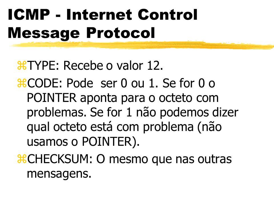 ICMP - Internet Control Message Protocol zTYPE: Recebe o valor 12.