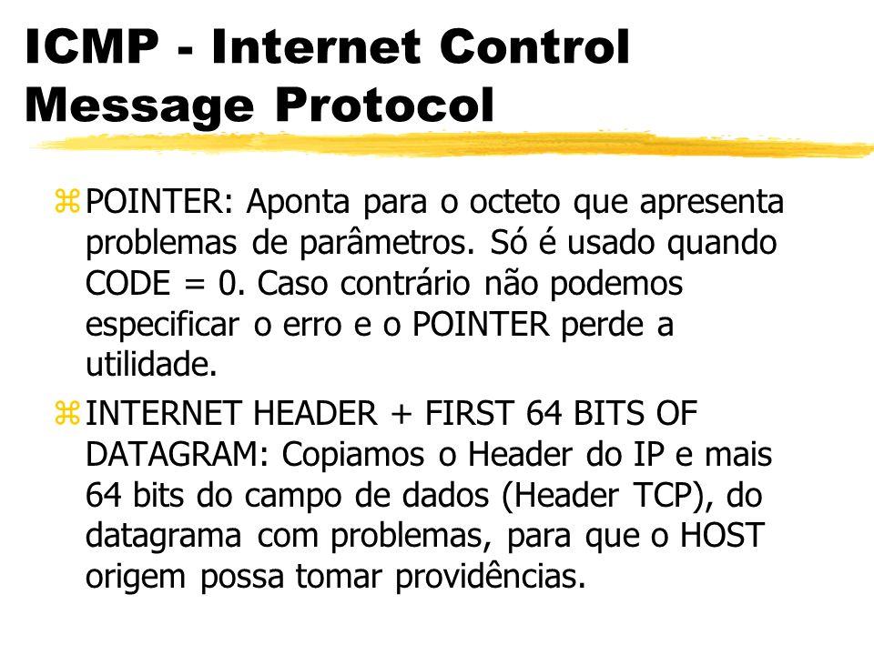 ICMP - Internet Control Message Protocol zPOINTER: Aponta para o octeto que apresenta problemas de parâmetros.