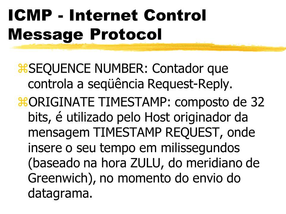 ICMP - Internet Control Message Protocol zSEQUENCE NUMBER: Contador que controla a seqüência Request-Reply.