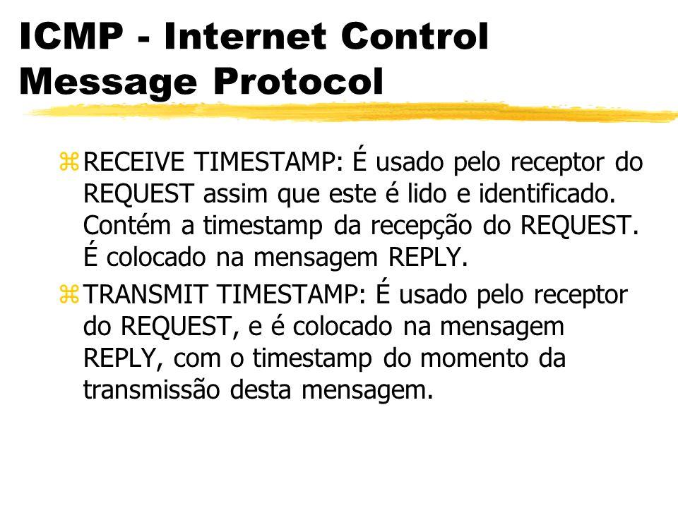 ICMP - Internet Control Message Protocol zRECEIVE TIMESTAMP: É usado pelo receptor do REQUEST assim que este é lido e identificado.