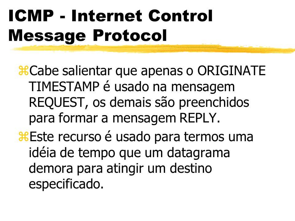 ICMP - Internet Control Message Protocol zCabe salientar que apenas o ORIGINATE TIMESTAMP é usado na mensagem REQUEST, os demais são preenchidos para formar a mensagem REPLY.