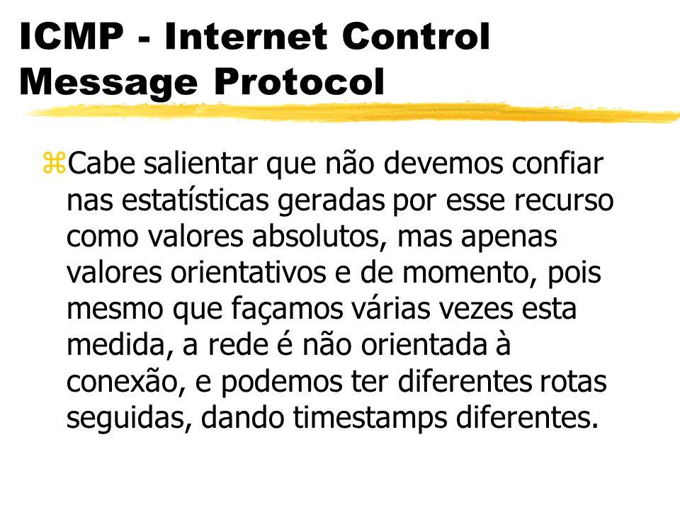ICMP - Internet Control Message Protocol zCabe salientar que não devemos confiar nas estatísticas geradas por esse recurso como valores absolutos, mas apenas valores orientativos e de momento, pois mesmo que façamos várias vezes esta medida, a rede é não orientada à conexão, e podemos ter diferentes rotas seguidas, dando timestamps diferentes.