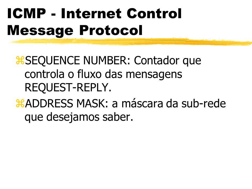 ICMP - Internet Control Message Protocol zSEQUENCE NUMBER: Contador que controla o fluxo das mensagens REQUEST-REPLY.