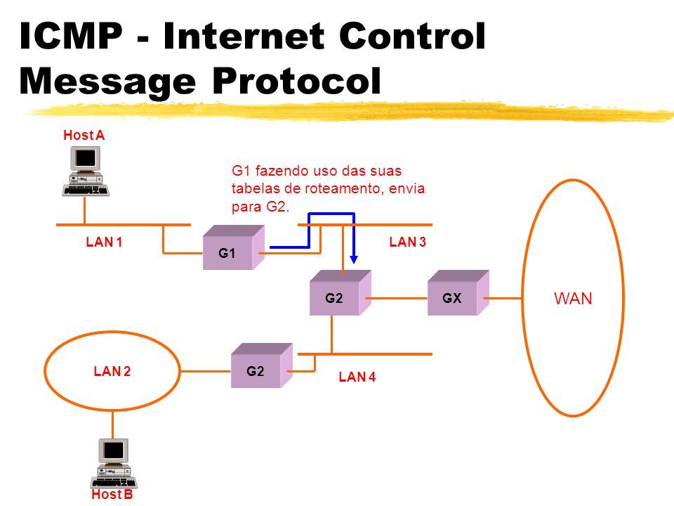 ICMP - Internet Control Message Protocol G1 fazendo uso das suas tabelas de roteamento, envia para G2.