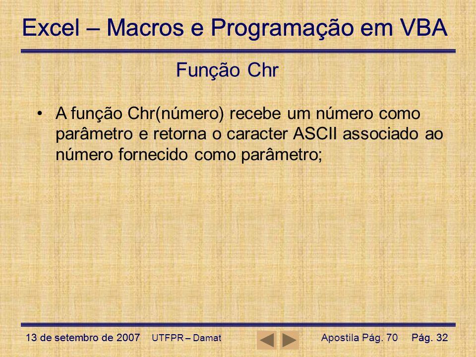 Excel – Macros e Programação em VBA 13 de setembro de 2007Pág. 32 Excel – Macros e Programação em VBA 13 de setembro de 2007Pág. 32 UTFPR – Damat Funç