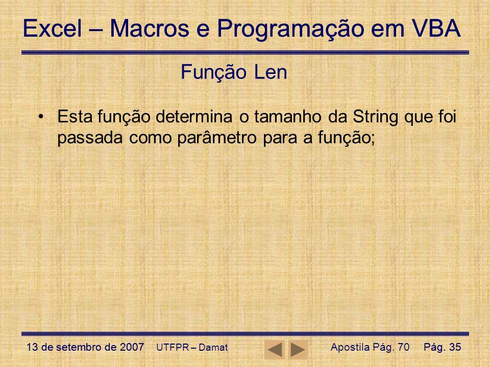 Excel – Macros e Programação em VBA 13 de setembro de 2007Pág. 35 Excel – Macros e Programação em VBA 13 de setembro de 2007Pág. 35 UTFPR – Damat Funç